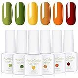 AwsmColor Gel Nail Polish Set, Soak Off Nail Gel Kit, Red Yellow Orange Green Leaves Gel Polish 6 Bright Colors 8ML Soak Off Gels for Women Girl