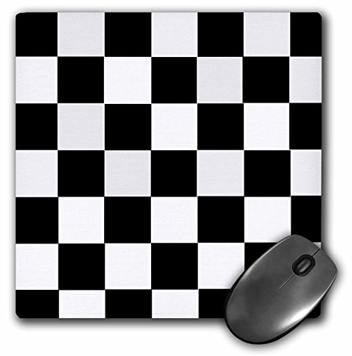 3dRose Checkered Black and White Squares- Art Mouse Pad (mp_44676_1)