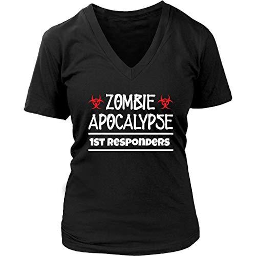 Womens Zombie Apocalypse 1st Responders Zombies Attack V-Neck T-Shirt Plus Size XS-4XL Black