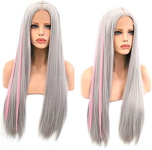 Peluca Pelucas Pelucas Europa y los Estados Unidos Frente de encaje gris claro en el pelo largo y recto Dos pelos rosados Peluca de fibra química de la moda de la peluca de alta temperatura. para la