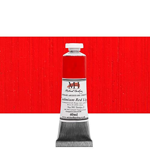 Michael Harding Artist Oil Colours, Cadmium Red Light, 40ml Tube, 50340