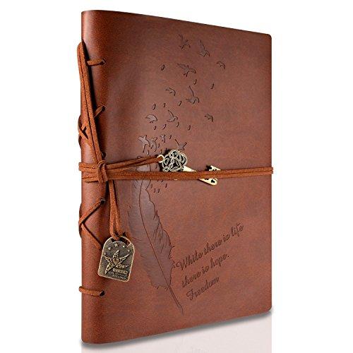 RYMALL Retro Notebook copertura del cuoio di chiave magica String 160 Blank Jotter Diario, 15 × 21 cm, A5 (Brown)