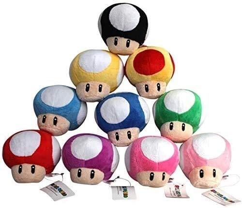 SongJX-Love Gzzxw. Supermary Plüsch 10pcs / Lot Super Mario Bros Mushroom Toad Spielzeug-weicher Plüsch-Puppe mit Schlüsselanhängern Mixed