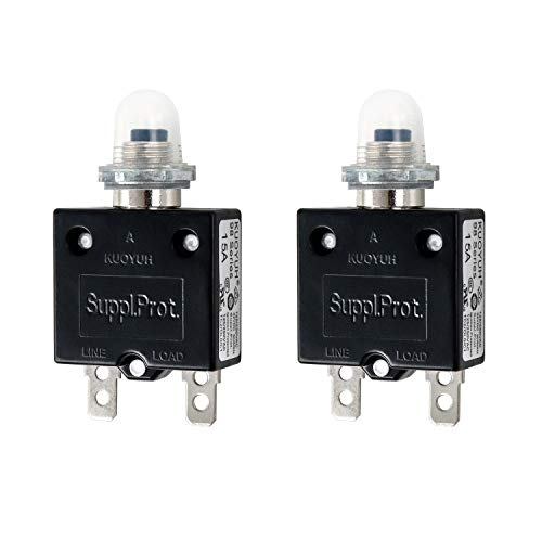 QWORK 2 Pack 15 Amp Circuit Breakers, 32V DC 125/250VAC 50/60Hz Thermal Circuit Breaker with Quick Connect Terminals and Waterproof Button Cap