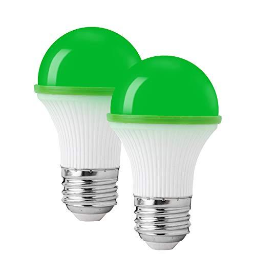 Green Light Bulbs, KINUR Green LED Light Bulb UL Listed 3W/A15/e26 Energy Saving Outdoor Indoor Bedroom Porch Desk lamp 2 Pack