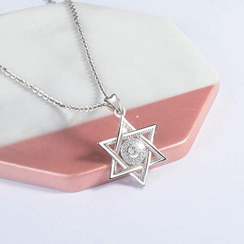 BJGCWY Plata de Ley 925 Estrella de David y Zirconia cúbica Colgante Collar Moda hexagrama joyería para Regalo de cumpleaños