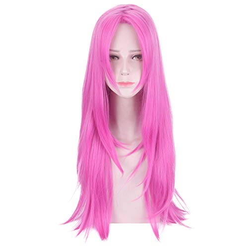 Anime Long Straight Pink Cosplay Wigs for Women Halloween Party Japanese (Diavolo)