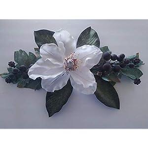 """Silk Flower Arrangements Mini Grape Magnolia Swag. Silk Flower Floral Arrangements White 20"""" Long by About 10"""" Wide - Artificial Flowers #FWB01YN"""