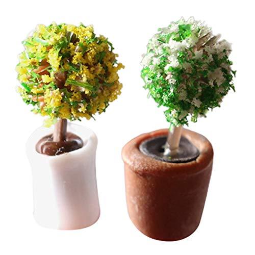 Sonoaud 2 piezas de planta en miniatura mini decoración de resina casa de muñecas modelo bonsái para regalo, decoración de muebles de pretender, regalo para niños mayores de 3 años de estilo aleatorio
