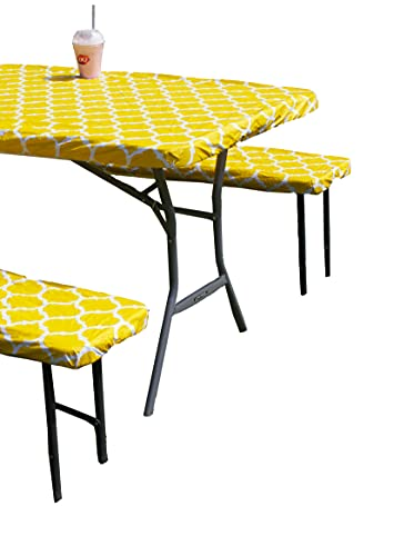 Rally Home Goods Vinyl Tablecloth Rectangular Fitted for Folding Table + Benches 3-pc Set, Flannel Backing Elastic 30x72'' (6-FT) Waterproof Wipeable, Yellow Trellis Pattern Plastic Camping Picnic