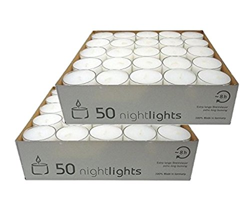 OloreHome 100 Clear Cup Tealights Long Burn Time 7-8 Hrs