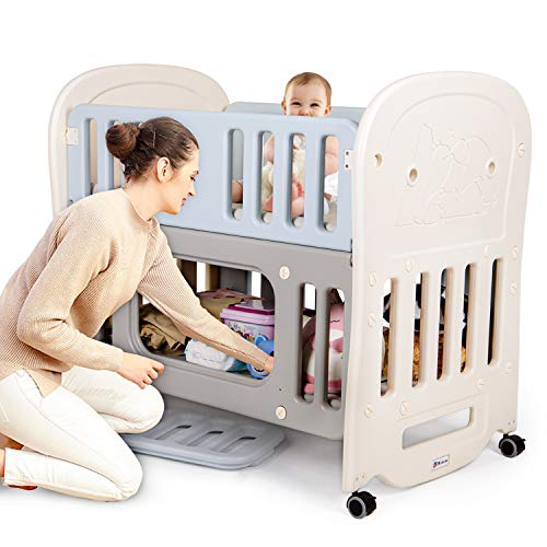 Hadwin Baby Cot Bed with Storage Space & Detachable Wheels, Travel Cot Converts into a Bedside Cot Co-Sleeping, Baby Playpen and Cradle,100x55cm Baby Crib Bed for Infant/Newborn