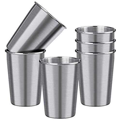 Ruisita 6 Pack Kids Stainless Steel Cups Shatterproof Drinking Glasses Metal Pint Cup Tumblers, 10...