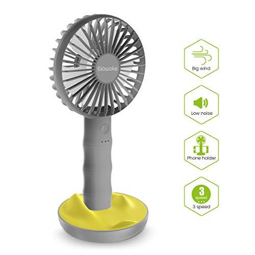 SAWAKE Mini Ventilador de Mano 2600mAh, Ventilador Portátil Recargable con Carga USB y Base, Hand Fan Personal con 3 Velocidades Ajustable de 3-10H para Oficina Hogar Exterior Viaje Acampada(Gris)