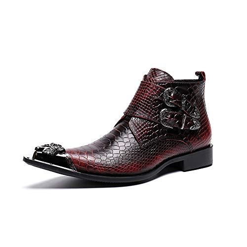 WLGC Martin Laarzen Heren High Tide Schoenen Lederen Gereedschap Engeland Metalen Punt Sneeuw Slang Huidpatroon Cowboy Laarzen