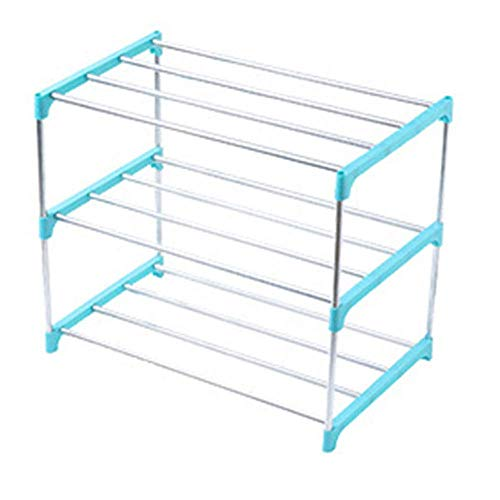 Zjcpow Zapatero apilable de 3/4 niveles, para ahorrar espacio, organizador de almacenamiento de zapatos (tamaño: como se muestra; color: azul 3 niveles)