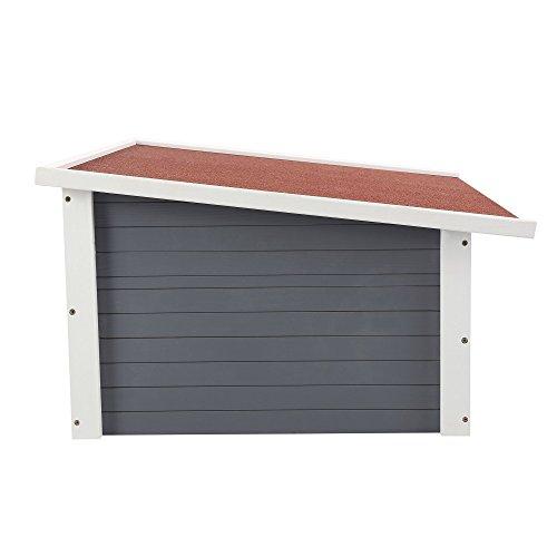 ZELSIUS Holzgarage für Rasenmäher Roboter, Garage aus Holz für Mähroboter, Rasenmäherrobotergarage, Mährobotergarage, Carport für Rasenroboter (grau) - 2
