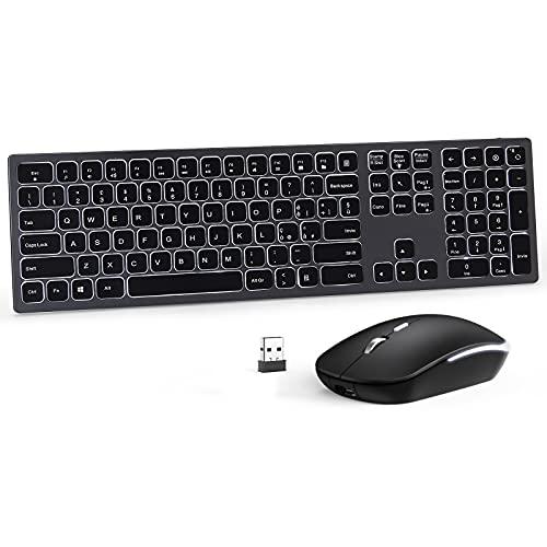 Seenda Tastiera e Mouse Wireless Retroilluminata, Kit Tastiera Mouse Senza Fili, Ricaricabile, 2.4G, Ricevitore USB Nano 2-in-1,Full-Size, Layout Italiano QWERTY per PC, Laptop, Windows, Smart TV