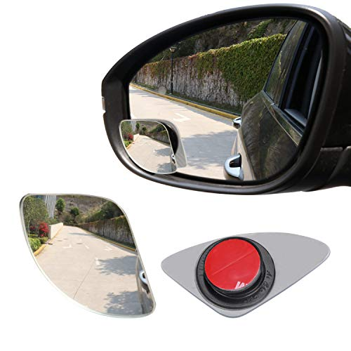LivTee Blind Spot Mirror,Asymmetric Fan Shaped HD Glass Frameless Convex Rear View Mirror with wide angle Adjustable Stick for Cars SUV and Trucks, Pack of 2