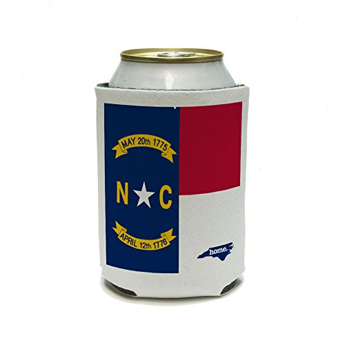 North Carolina NC Home State Can Cooler Drink Insulated Holder - Flag
