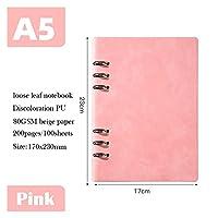 ノートブック 緩い葉のノート A5 A6プランナーオーガナイザーバインダーフォルダー旅行日記ジャーナルビジネスバックルメモ帳オフィス用品 論文 (Color : A5 Pink)