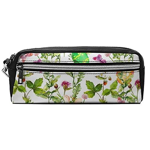 Estuche de cuero para cosméticos, bolsa multiusos con cremallera de metal, tamaño de bolsillo, lápiz cosmético, acuarela cielo y nube, Black-bunnies and Flowers10, 20*10*5.5,