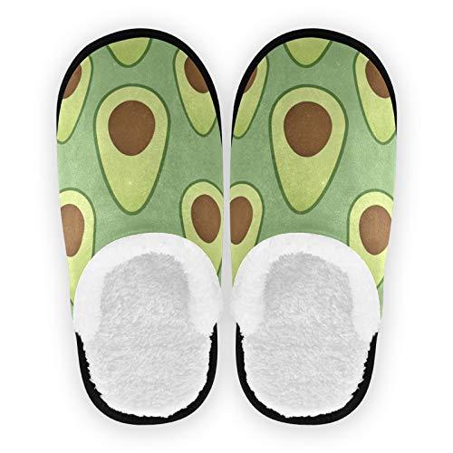 Mnsruu Grüne Avocados Hausschuhe, rutschfeste Baumwolle, Hausschuhe, Hotel, Spa, Schlafzimmer, Reisen, L für Männer und Frauen