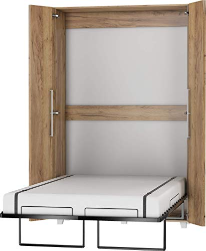 FurnitureByJDM Schrankbett Vertikal, Wandklappbett, Bettschrank, Wandbett, Schrank mit integriertem Klappbett, Funktionsbett - TEDDY - (Craft Gold, 120 x 200 cm)