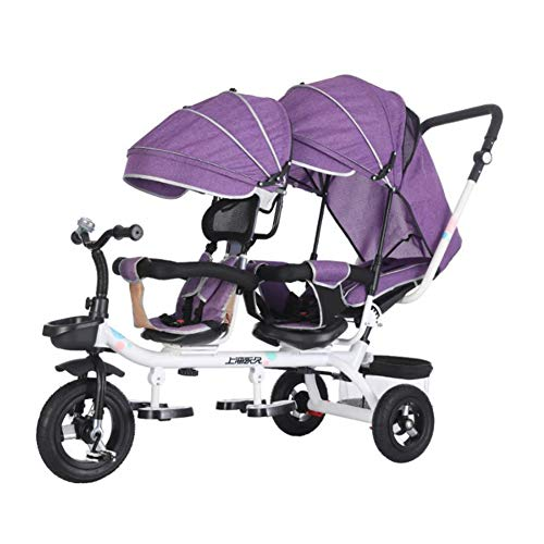 Poussette De Tricycle De Chariot d'enfant en Bas Âge Jumeau 1-7 Ans Bébé Garçons Filles Auvent Réglable Pédales Pliables,Violet
