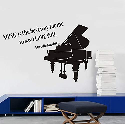 Notas musicales La música es la mejor manera para mí Cotización Pegatinas de pared Decoración para el hogar Vinilo removible Piano Tatuajes de pared DIY Art 64 * 43 cm