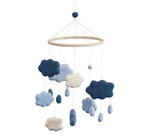 Sebra - Filz-Babymobile - Wolken - Denim Blue - Wolle/Holz - H: 57 cm - D: 22 cm