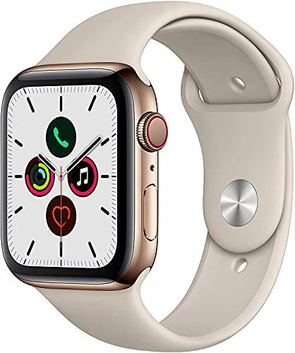 Apple Watch Series 5 (GPS + Cellular, 44MM) - Gold Stainless Steel Case with Stone Sport Band (Renewed)