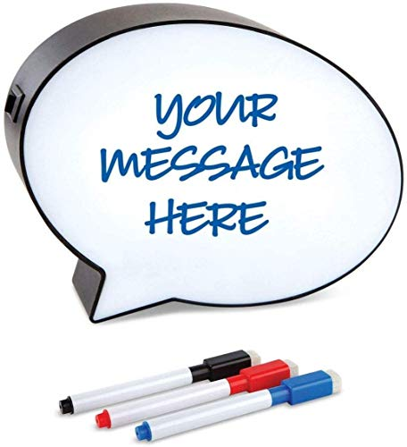 Speech Bubble Lighted Message Board - Word Bubble Memo Board Dry Erase Board Light Up Sign with 3 Markers. Personalized Decorative Signs for Home Decor Wall Decor Table Décor Plaque Cinema Light Box
