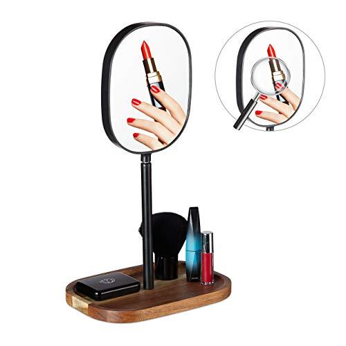 Relaxdays Kosmetikspiegel mit Ablage, Holz, Metall, Bad & Schlafzimmer, Vergrößerungsspiegel, HBT 35 x 20 x 14 cm, Natur