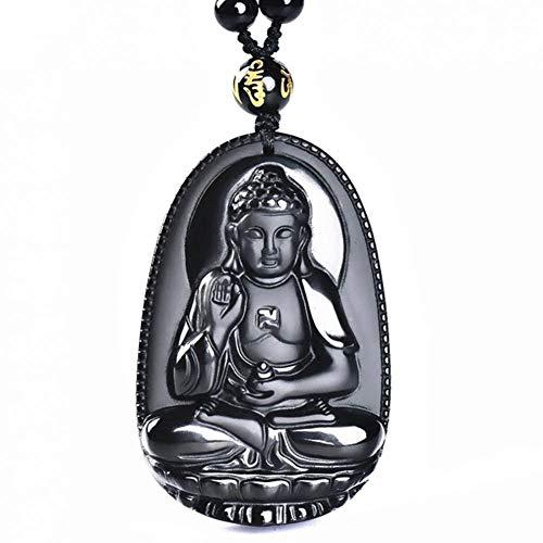 Piedra Natural Negro Obsidiana Tallada Joyería Afortunado De Buda Amuleto Colgante, Collar Fino para Colgantes Collar Hombres De Las Mujeres Suéter