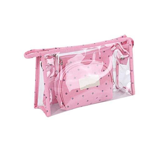 3pcs Portable Sac cosmétique Voyage Sac de toilette Set avec fermeture éclair PVC durable maquillage emballage étanche Pouch Organisateur Rose Rouge