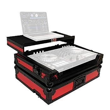 ProX LED Flight Case for Pioneer DDJ-SR2 Digital Controller With Laptop Shelf and Bonus LED Kit - Black on Red Design-XS-DDJSR2LTRB