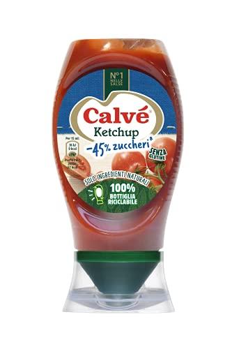 Calvé Ketchup Light con Meno Zuccheri in Confezione Top Down da 250 ml
