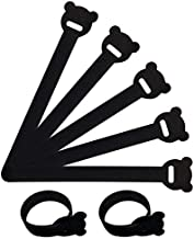 40 Pcs Black Reusable Fastening Cable Ties with Hook and Loop, Multi-Purpose Cable Straps Wire Ties Cable Management, Adjustable Fastening Cord Ties for Computer/TV/Electronics