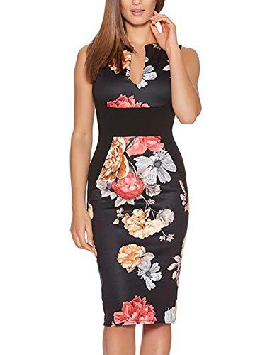 Fantaist Women's Patchwork Floral Print Formal Business Party Wear to Work Dress (M, FT601-Black)