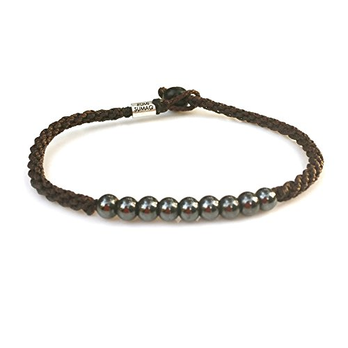 Brown Anklet with Beaded Hematite Stones for Men Women Teens - Handmade Woven Knot Braided Rope Ankle Bracelet Surfer Beach Jewelry