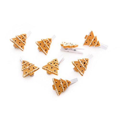 8 mini beugels van hout (4,5 cm) met witte dennenboom in biscuit-look? Voor het decoreren, sluiten en decoreren van adventskalender, geschenken en tassen van alle soorten