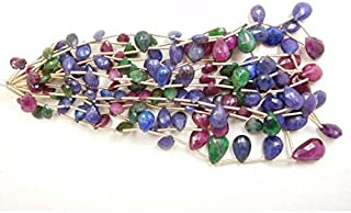 """Jewel Beads Natural Beautiful jewellery Emerald ruby sapphire micro faceted pears briolette 10"""" strandCode:- JBB-19333"""