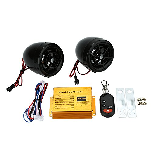 Carrfa Alarmas para Motos, Motocicleta Reproductor de Mp3 Altavoces Audio, Sistema de Sonido Alarma FM Radio, Alarmas de Seguridad A Distancia Inalámbrico con Ranura USB