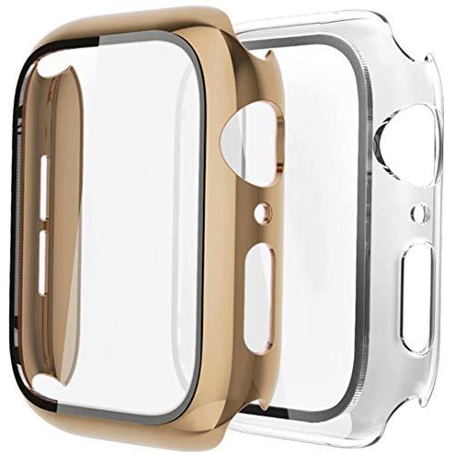 Fengyiyuda Hülle Kompatibel mit Apple Watch 38/42/40/44mm mit Anti-Kratzen TPU Panzerglas Bildschirmschutz Schutzfolie,360°Schutzhülle für iWatch Series 6/5/4/3/2/1/SE,2 Stück,Light Gold/Clear,40mm