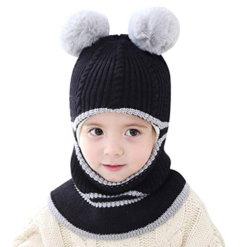 ZZM Gorro de Punto de Invierno para bebés, Gorro de pasamontañas Sombrero de pompón para niños Gorro de esquí de Snowboard Niño Pañuelo para el Cuello Sombrero de Crochet de Invierno cálido