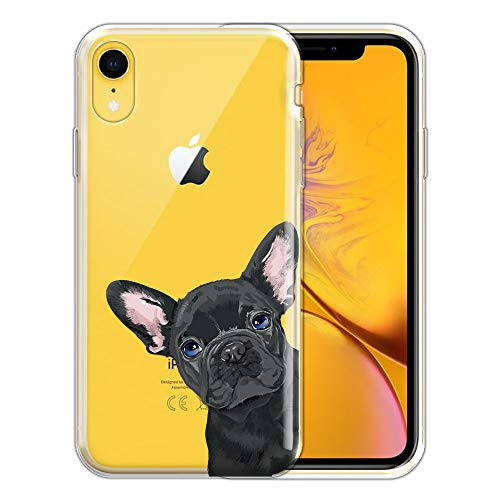 FINCIBO Case Compatible with Apple iPhone XR 6.1 inch, Clear Transparent TPU Silicone Protector Case Cover Soft Gel Skin for iPhone XR - French Bulldog Puppy Dog Black Look for You