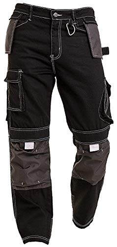 Qaswa Herren Arbeitshose Schwarz LadungSicherheit Hose Jeans mit Kniepad Taschen Kampf Arbeitshosen Bundhose Cargohosen Gartenhose