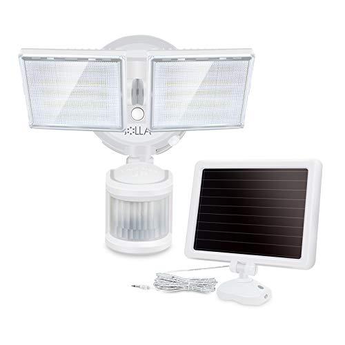 LED Außenstrahler mit Solar-Panel und Bewegungs- Dämmerungssensor, 1500 Lumen, 5000K, IP65, für Garten, Hof und Garage I Solarlampe für Außen I Außenlampe I Außenleuchte