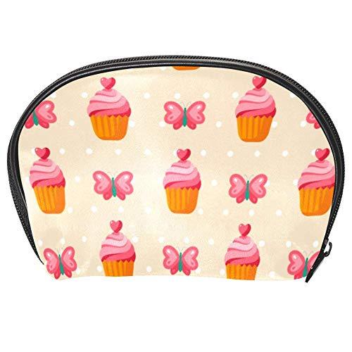 Bennigiry Trousse de toilette multifonction avec fermeture Éclair Motif cupcake et cœurs